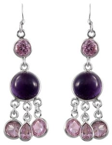 Other Amethyst and Pink Austrian Crystals in Stainless Steel Earrings