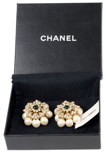 Chanel Chanel Silver Crystal, Green Glass & Glass Pearl Earrings