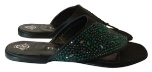 Gina Peters Black/Green Sandals