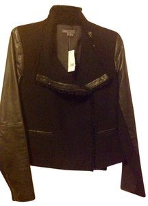 Vince Leather On Trend Boucle Leather Jacket