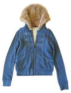 Marc by Marc Jacobs Faux Fur Hoodie Blue Jacket