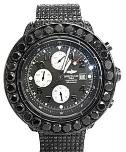 Breitling Original Breitling Super Avenger Stainless Steel With After Market Black Diamonds 50 Carats Total Weight