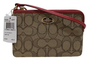 Coach Wristlet in Khaki / Classic red