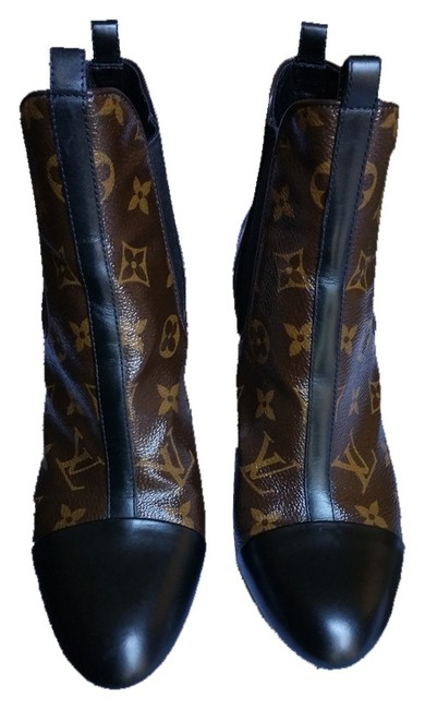 Item - Signature Lv Brown Black Leather Limited Edition Logo Boots/Booties Size US 8 Narrow (Aa, N)