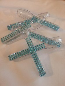 6 Bling Candy Buffet Tongs Aqua