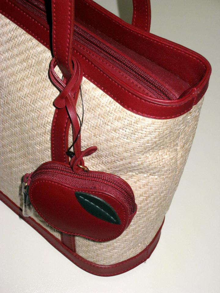Etienne Aigner Rare Island Fruit Tote With A Red Apple