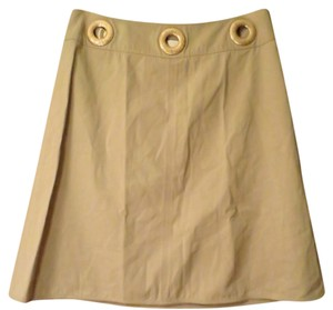 Valentino A-line Metal Hardware Skirt Camel