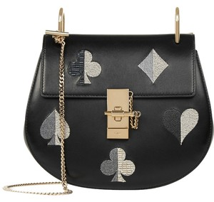Chloé Drew Chain Gold It Large Crossbody Spade Playing Cards Turnlock Flap Front Flap Large Flap Shoulder Bag