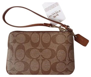 Coach Wristlet in Khaki Saddle