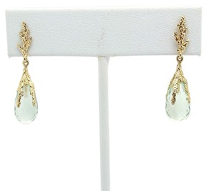 Other Semi Precious Light Green Stones 14k Yellow Gold Earrings with Push Backs