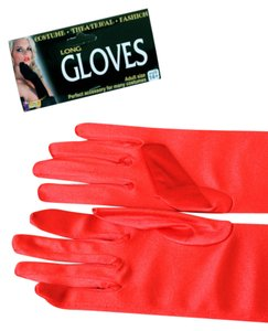 Other Red satin long over the elbow gloves