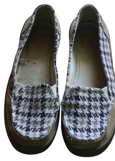 Rockport R2 Houndstooth Tan Sneaker Brown Flats