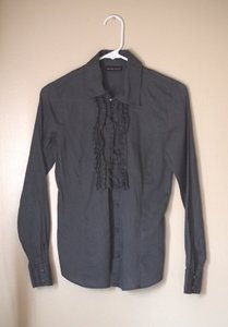 New York & Company Ruffled Button Down Shirt dark gray