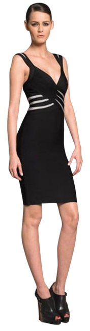 Item - Black with Silver Stripe Detail Contrast Bandage Knee Length Cocktail Dress Size 2 (XS)