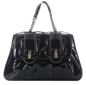 Fendi Large Black Patent Fi.j1029.14 Satchel