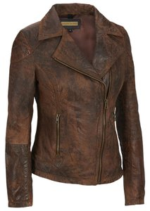 Wilsons Leather Black Rivet Asymmetrical Brown Leather Jacket