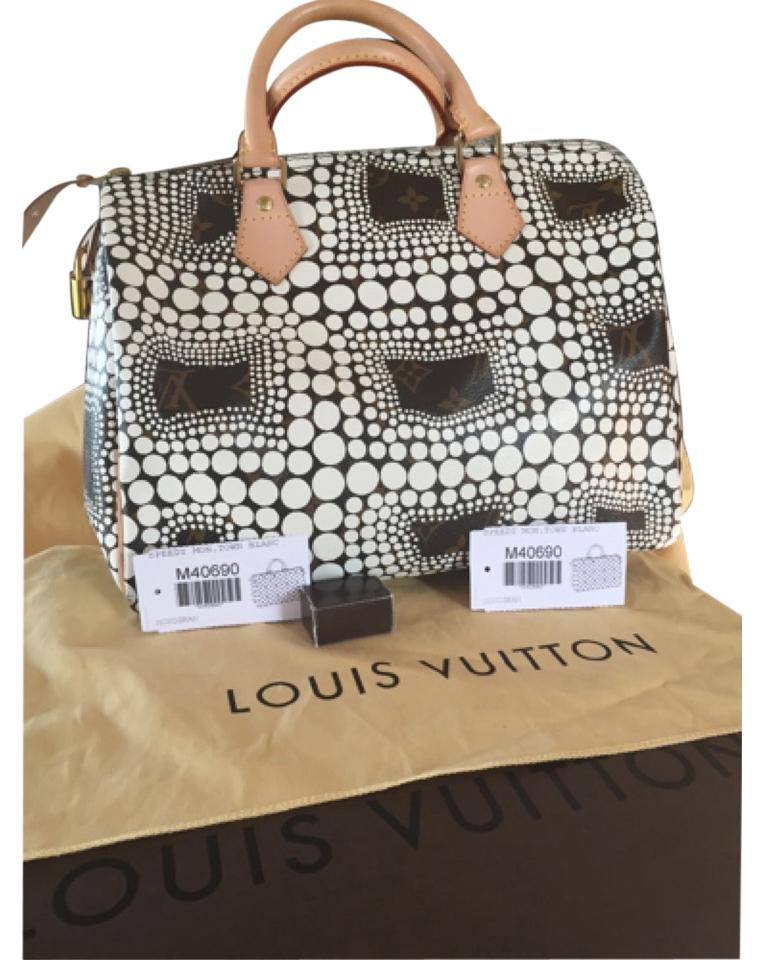 5a26bb72b4df Louis Vuitton Yayoi Kusama Speedy 30 Limited Edition Satchel in WHITE   BROWN Image 0 ...