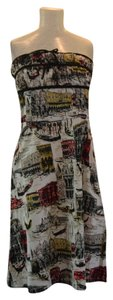 Mica short dress Venice print-cream, black, red, yellow Vintage on Tradesy