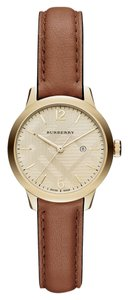 Burberry Burberry Check Stamped Gold Tone Brown Leather Watch