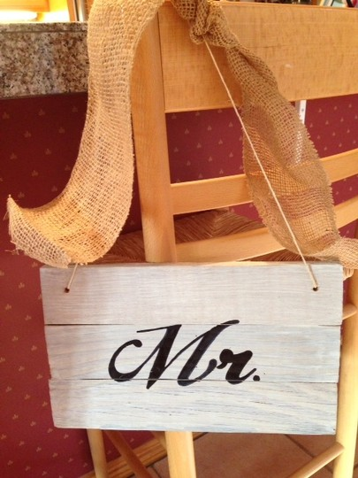 White Wash Mr and Mrs Wooden Picket Signs Other