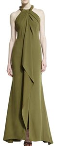 Carmen Marc Valvo Halter Top Embellished Formal Gown Dress