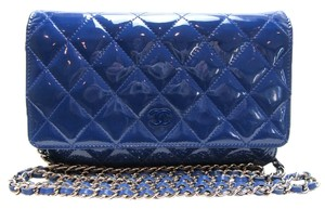 Chanel Clutch Woc Patent Wallet Chain Patent Woc Blue Messenger Bag