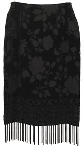Burnout Style Slimming Skirt Black