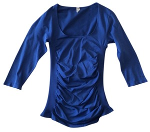 Last Tango Bodycon Scoop Neck 3/4 Sleeve Rouched T Shirt sapphire