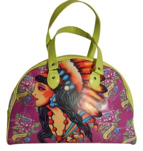 Ed Hardy lime green, purple multi color Travel Bag