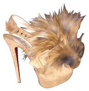 Christian Louboutin Splash Fur Stilettos High Heels Boots Booties Camel Platforms