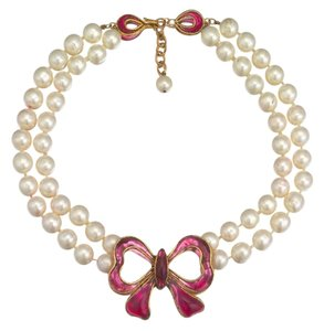 Chanel Chanel Maison Gripoix Double Strand Simulated Pearl Necklace w/Pink Bow 1970s VINTAGE