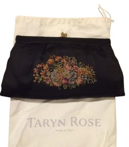 Taryn Rose Black with floral design (rose, green, burgundy,tan) Clutch