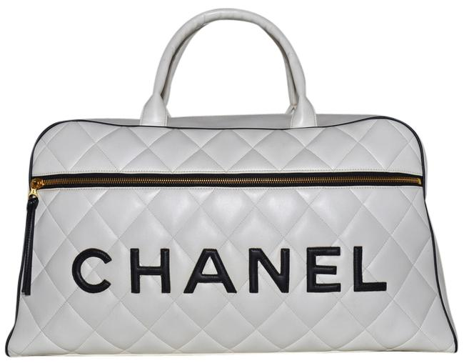 """Item - Duffle Paris Quilted Calfskin Jumbo Size 19.25"""" Overnight Carry On Black & White Leather Weekend/Travel Bag"""