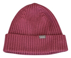 Coach Coach Cranberry 100% Wool Solid Knit Beanie - One Size