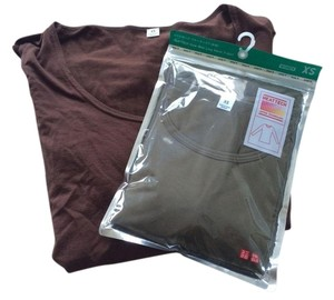 Uniqlo Heattech Heattech Base Layer Warm Weather Japan Xs T Shirt Olive And Brown