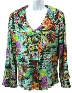 Alberto Makali Floral Crinkled Top MULTICOLOR