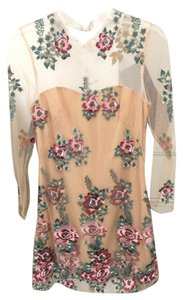 Marchesa Notte Embroidered Mesh Collar Flowers Feminine Dress