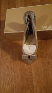 Michael Kors gray patent leather Mules