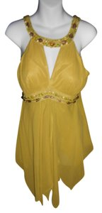 Sue Wong Size Small Silk Empire Waist Jewled Embellished Top OLIVE GREEN