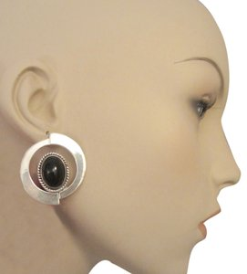 Other LARGE VTG MEXICO STERLING SILVER & ONYX CLIP EARRINGS 20gr MODERN ABSTRACT