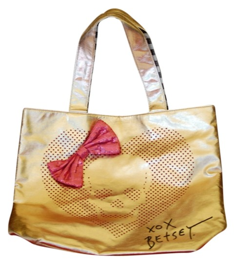 Preload https://item2.tradesy.com/images/betsey-johnson-pinkmetallic-gold-faux-leather-tote-988751-0-0.jpg?width=440&height=440