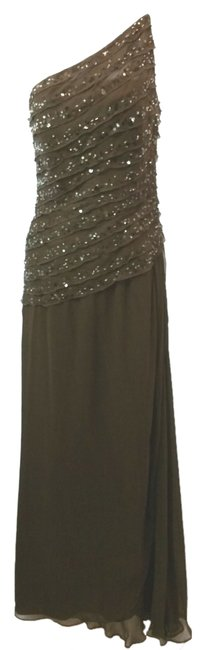 Item - Brown Couture Neiman Marcus One Shoulder Silk Gown Long Cocktail Dress Size 10 (M)