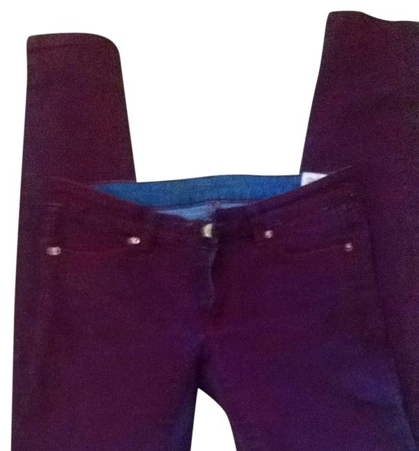Item - Red Wash Distressed Over Blue Denim Skinny Jeans Size 24 (0, XS)