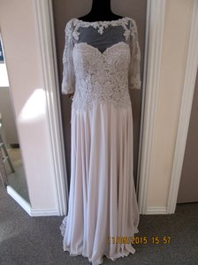 Montage Beige Beaded Lace 3/4 Sleeve Formal Bridesmaid/Mob Dress Size 12 (L)
