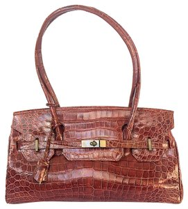 Other Crocodile Birkin Kelly East-west Brown Satchel in Cognac