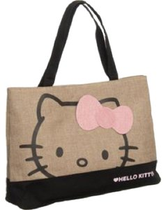 Hello Kitty Burlap Tote in Natural/Black