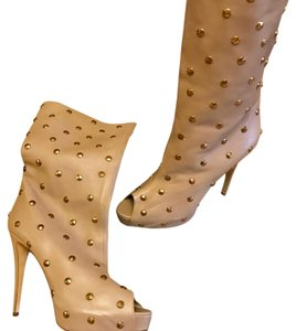 Brian Atwood Studded Beige Boots