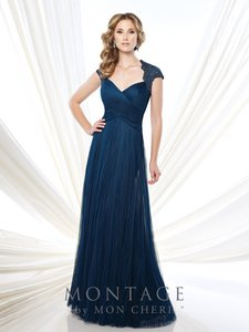 Montage Navy Tulle 215920 Formal Bridesmaid/Mob Dress Size 12 (L)