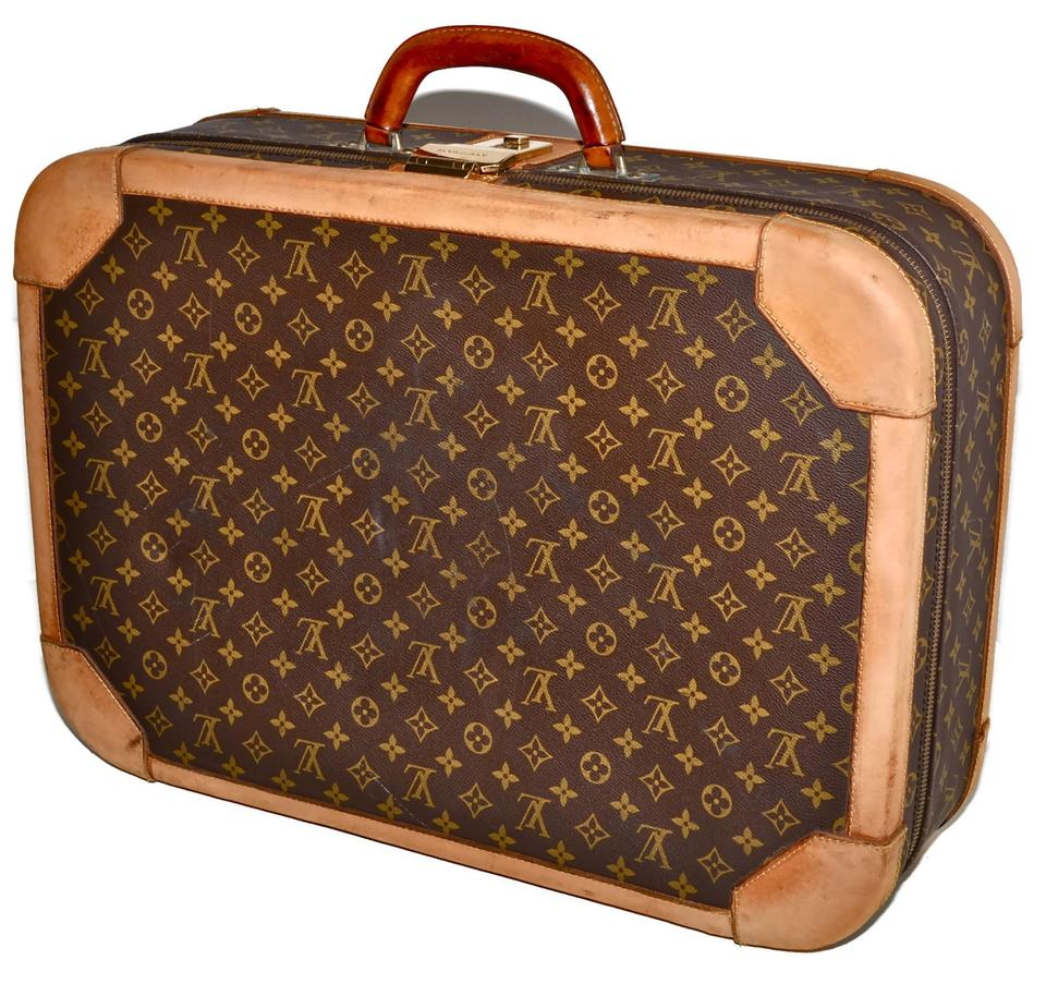 68c65b95bd15 Louis Vuitton Monogram Suitcase Rare Vintage Structured Luggage Brown  Leather   Coated Canvas Weekend Travel Bag