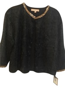 Ellen Tracy Black with Gold Sequin Trim Jacket